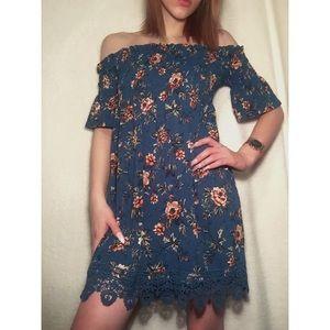🌵Blue Floral Dress Off The Shoulder